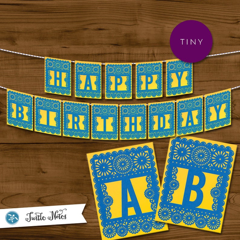 Tiny Blue & Yellow Papel Picado    Printable Banner All image 0