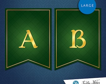 Large Brave Green Banner :  Printable Banner All Letters 0-9 numbers