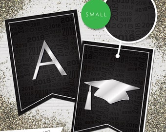 Small Black & Silver 2018 Printable Banner  |  All Letters 0-9 numbers  |  Graduation, Birthday, Congratulations, Anniversary