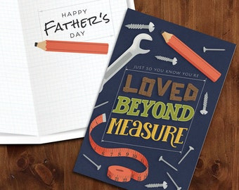 You're Loved beyond Measure  |  Workshop themed Printable Father's Day Card with Matching Envelope
