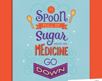 Spoon Full of Sugar Purple & Orange : Hand Lettered Printable 8 x 10 Home Decor, Wall Art Print Quote