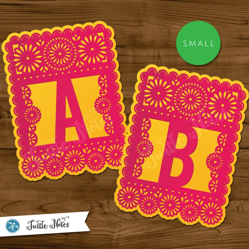 Small Pink & Yellow Papel Picado  :  Printable Banner All image 0