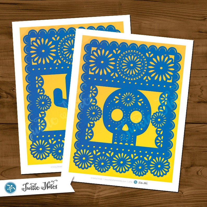 Printable Banner All Letters 0-9 numbers Large Blue /& Yellow Papel Picado