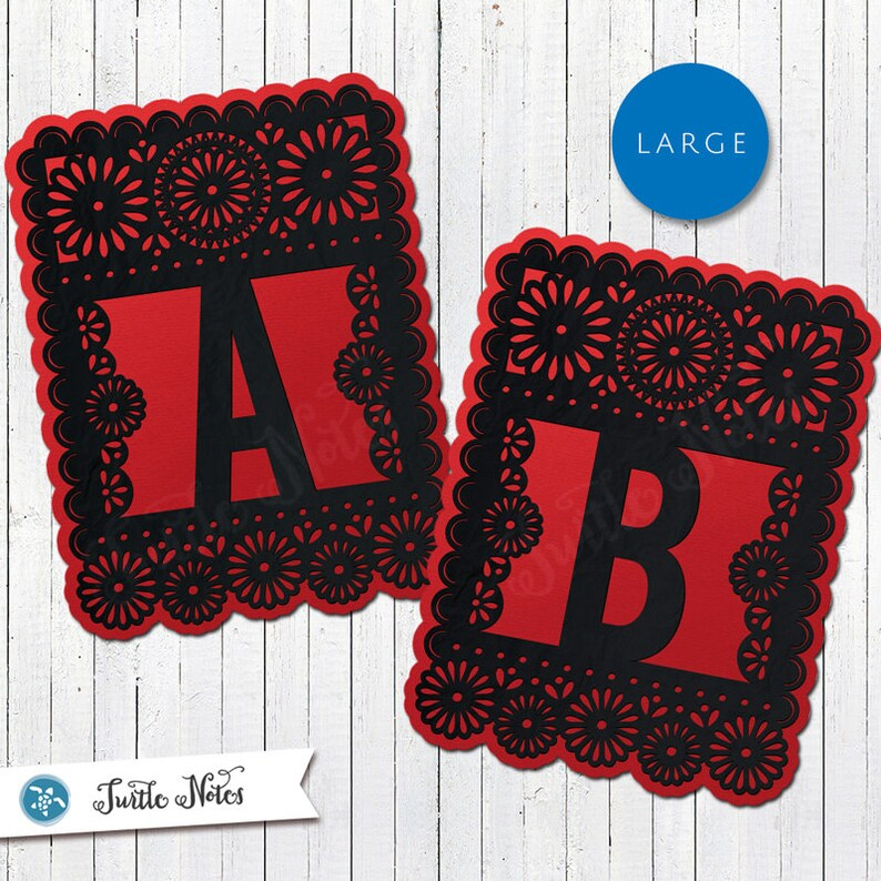 Large Red & Black Papel Picado  :  Printable Banner All image 0
