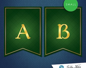 Small Brave Green Banner :  Printable Banner All Letters 0-9 numbers