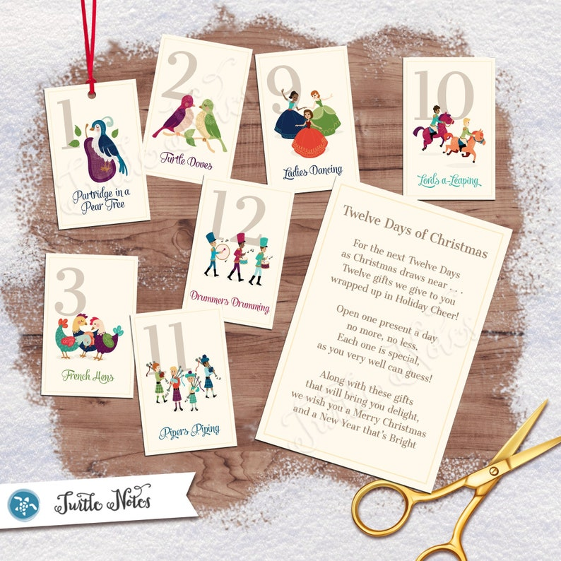 Classic Twelve Days of Christmas Gift Tags with Gift Poem  image 1