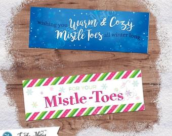 2 Printable Christmas Treat Bag Toppers | Editable Mistle-Toes Themed Gift Tags