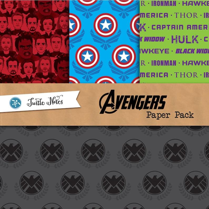 Avengers Digital Paper Pack  12x12 Printable Digital image 0