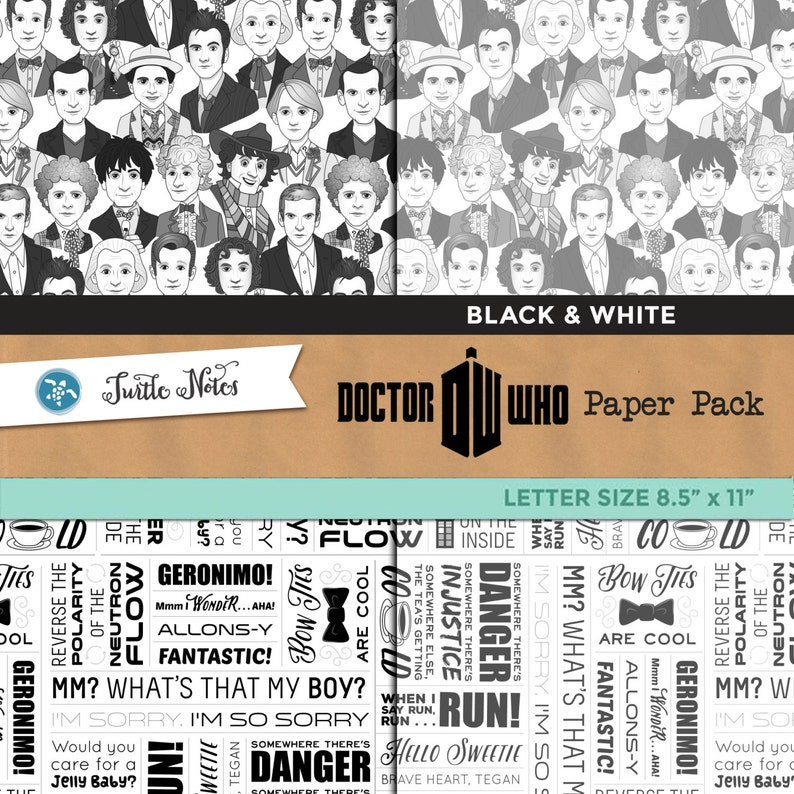 Dr. Who Black & White Digital Paper Pack  8.5x11 image 0