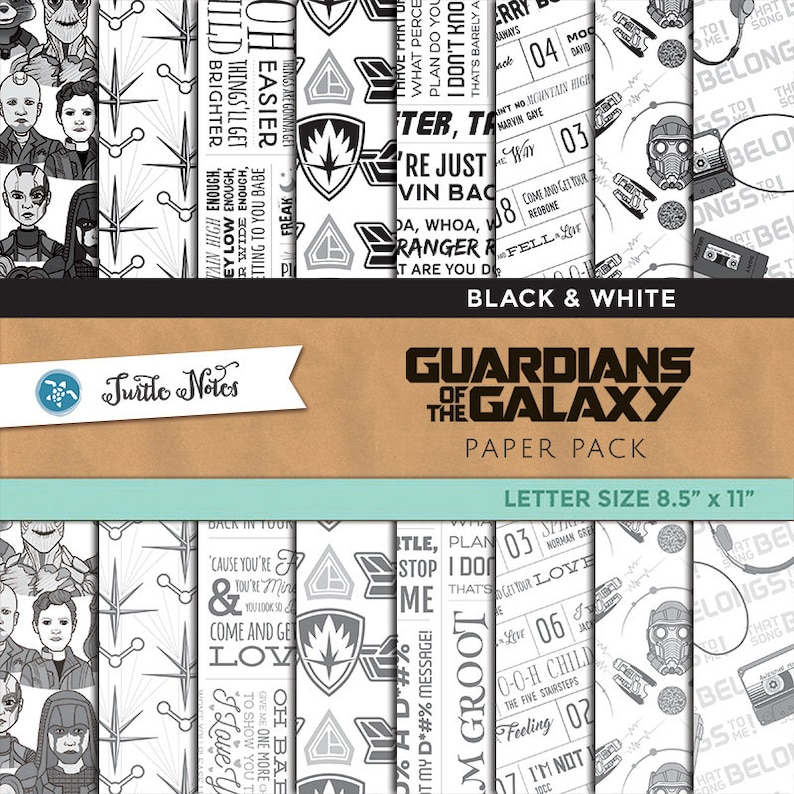 Guardians of the Galaxy Black & White Digital Paper Pack  image 0