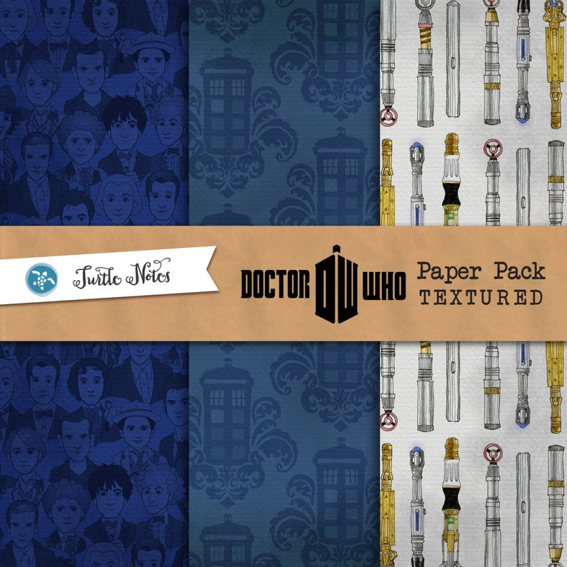 Dr. Who Paper Textured Digital Paper Pack  12x12 image 0