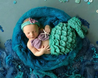 Crocheted Mermaid Tail Outfit Infant Baby Prop