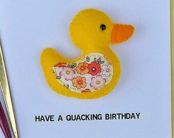Ente Geburtstagskarte - magnetische Ente - haben einen Dusch Geburtstag - Filz gelbe Ente Plüschtier - Kühlschrankmagnet