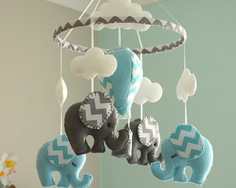 Blue Baby Boy Mobile / Nursery  Elephant Hot Air Balloon Mobile / Felt Mobiles / MADE TO ORDER