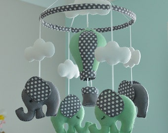 Baby Mobile - Mint Green Elephant Mobile - Nursery Felt Mobile - Hot Air Balloon Mobile - MADE TO ORDER