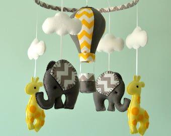Baby Mobile - Elephant Giraffe Mobile - Hot Air Balloon - Nursery Mobile  - Baby Shower Gift - Made To Order