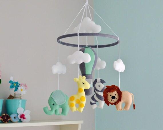 Safari Baby Mobile Animal Mobile Nursery Felt Mobile Hot Air Balloon Made To Order