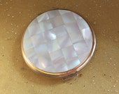 Mother of Pearl Powder Compact Mirror c1950 39 s. Glamorous Vanity Item. Stratton of England.