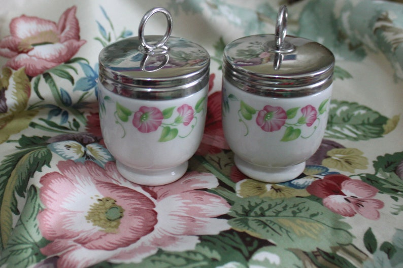 Pair Of Egg Coddlers English Garden Design By Royal Worcester Etsy