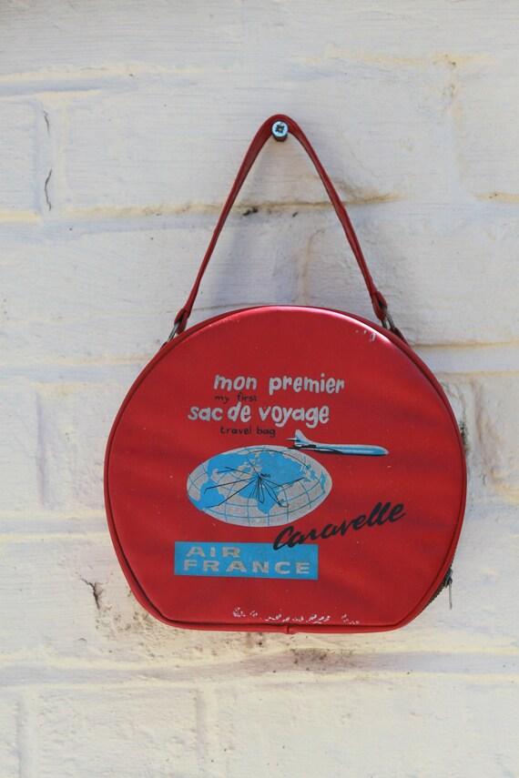 taille 40 c3356 82291 Air France Flight Case c1960s. Mon Premier Sac De Voyage. Red &Blue.  Airline Collectable. Caravelle Jet Age.