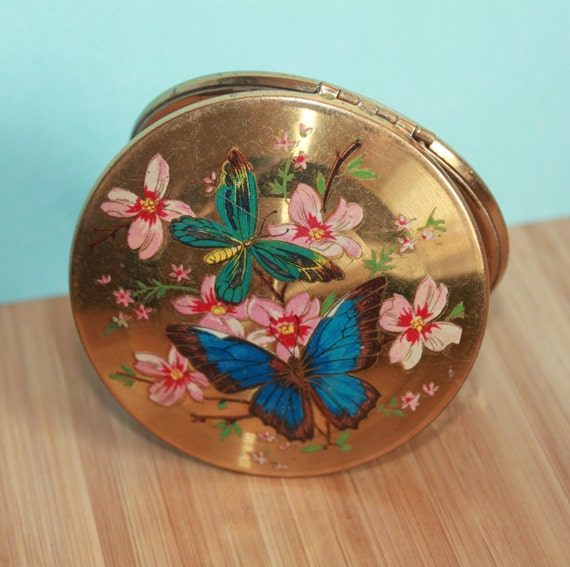 Kigu of London c1950/'s Mid Century Glamour Blue Enamel Lily Pad Compact Mirror /& Powder Beautiful Vanity Collectable.