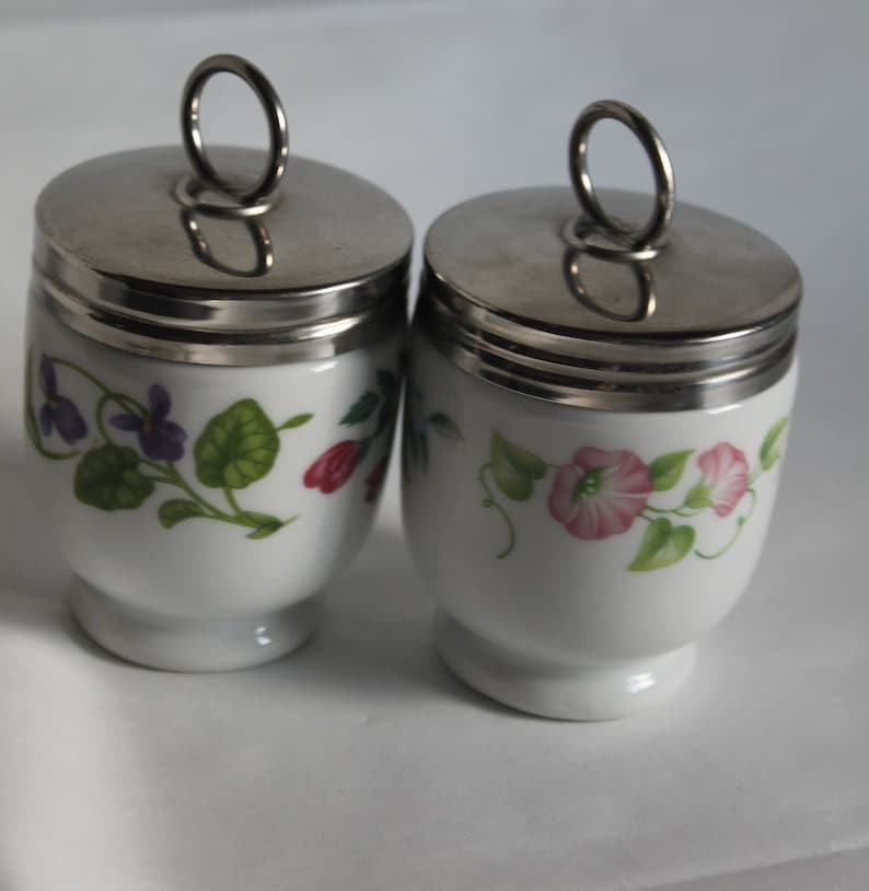 Set Of Two Egg Coddlers English Garden And Fairfield Flowers Etsy