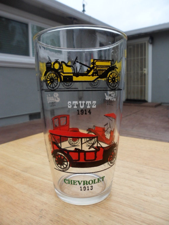 d8dc5aac9117 Free Shipping Large Glass Tumbler With Automobiles Painted
