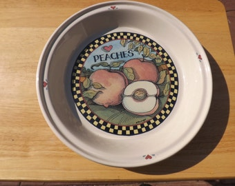 Susan Wignet Ceramic 11 Inch Peach Pie Pan - Certified International Peaches Pie Plate - Peach & Sunnycraft Sunnyu0027s Pride Pie Plate With Apple Pie Recipe