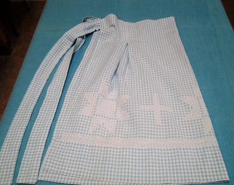 Vintage apron, Gingham Embroidery, Aqua or Turquoise half apron, kitchen kitsch,, Retro, FREE Shipping!