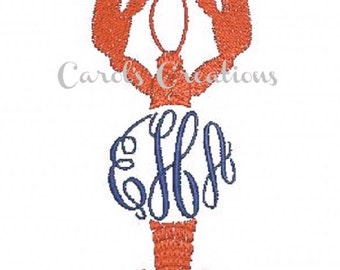 Embroidery Design/Crawfish Lobster Monogrammed Design/Machine Embroidered/Personalized Monogram/Instant Download Monogram/Embroidery File