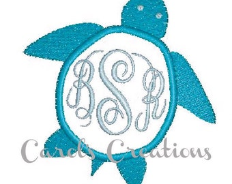 Sea Turtle,instant download,monogram machine embroidered design,embroidery design,personalized monogram,embroidery file