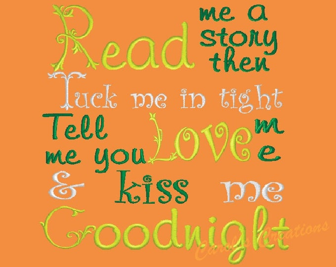 Featured listing image: Reading Pillow Saying,Read Me a Story, Pillow Quotes,pocket pillow sayings,embroidery designs,reading saying