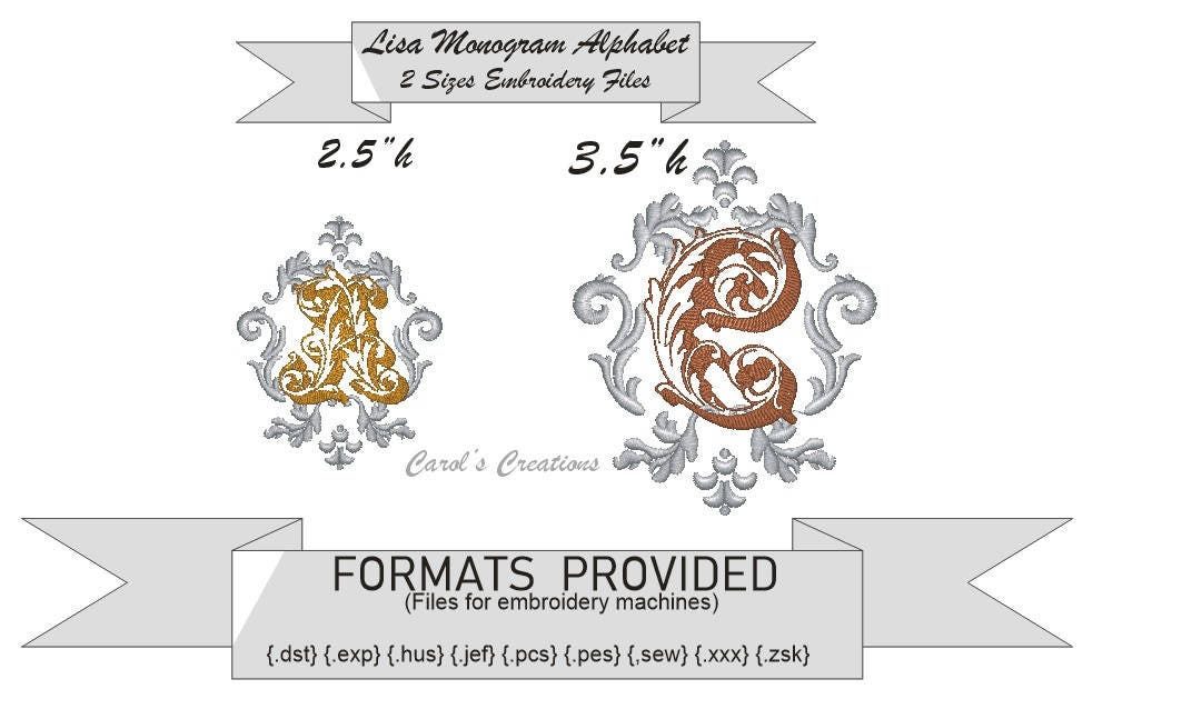 Lisa Embroidery Font,instant download, machine embroidery, monogram ...