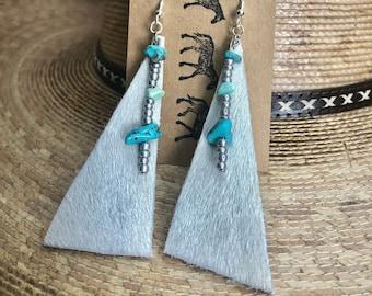boho earrings NFR fashion Western Cowhide Earrings w Turquoise gifts for her rodeo earrings cowgirls western fashion cow earrings