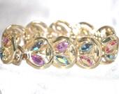 Vintage Signed Coro Bracelet 1960s Era Gold Tone Rhinestone