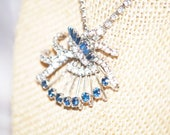 Vintage Dark Blue and Clear Fan Shape Rhinestone Chain Necklace