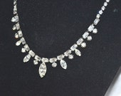 Signed Weiss Necklace Simple Bright Clear Rhinestone Vintage