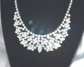 Vintage Signed WEISS 1940s 50s Clear Rhinestone Bib Style Necklace