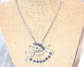 Vintage Dark Blue and Clear Fan Shape Rhinestone Chain Necklace
