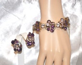 Vintage DeLizza Elster Juliana Bracelet with Earrings Purple and Lavender Rhinestones