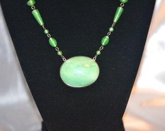 Vintage Signed Czechoslovakia Art Nouveau Peking Art Glass Necklace