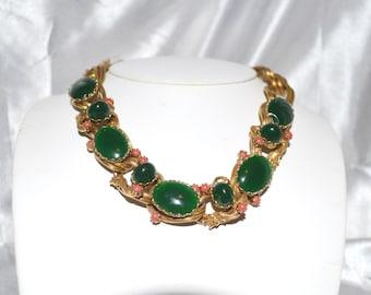Vintage Schiaparelli Attributed Jade Green Art Glass Dragon Necklace