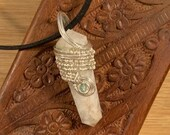 Third Eye Enhancement & Karmic healing: Rainbow Moonstone with Apatite, Silver-filled Wire