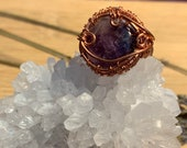 Amethyst Copper Ring for Calmness & Intuition (Size 6 Ring)