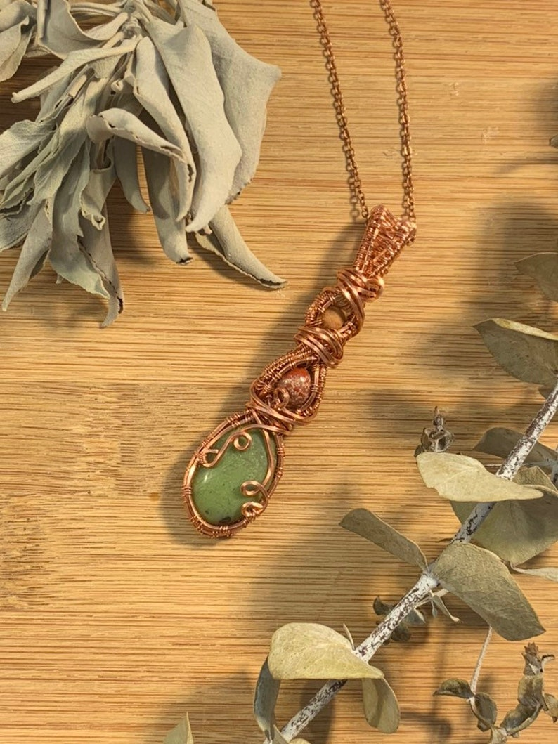 Nephrite Jade Red Jasper Grainstone Pendant for Healing & image 0