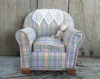 Little Stuffed Rocking Chair Pin Cushion - Doll House Chair