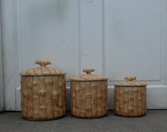 Ceramic Bamboo Canister Set