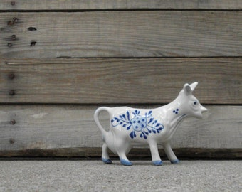 Sweet Painted Delft Blue Ceramic Cow Creamer