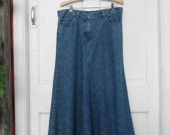 Frayed Hem Denim Maxi Midi Skirt Sz M
