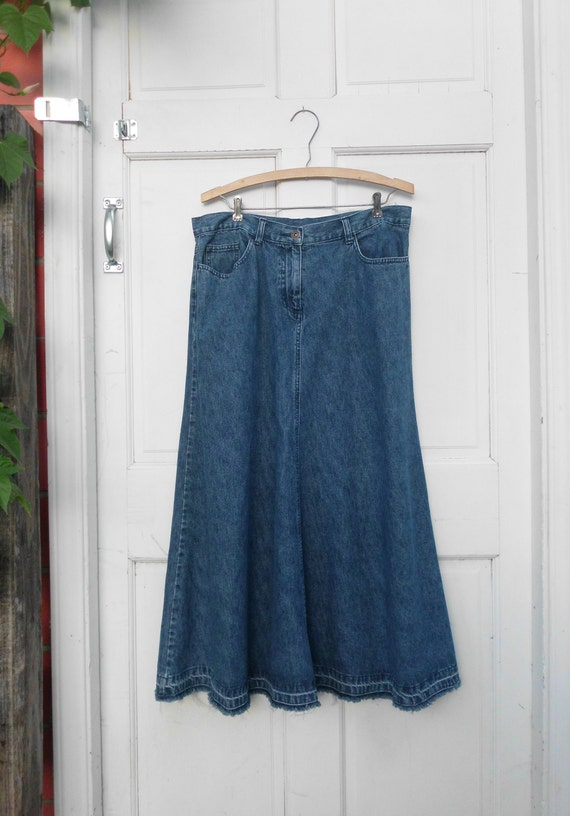 Frayed Hem Denim Maxi Midi Skirt Sz M